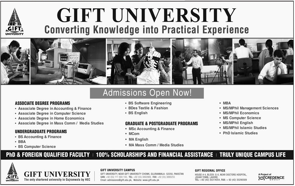 Gift University Admissions Fall 2016