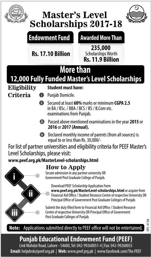Punjab Education Endowment Fund Master Level Scholarships 2017-2018