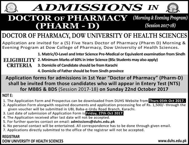 Dow University Karachi Pharm D, DPT Admissions 2017 Test Result, Merit