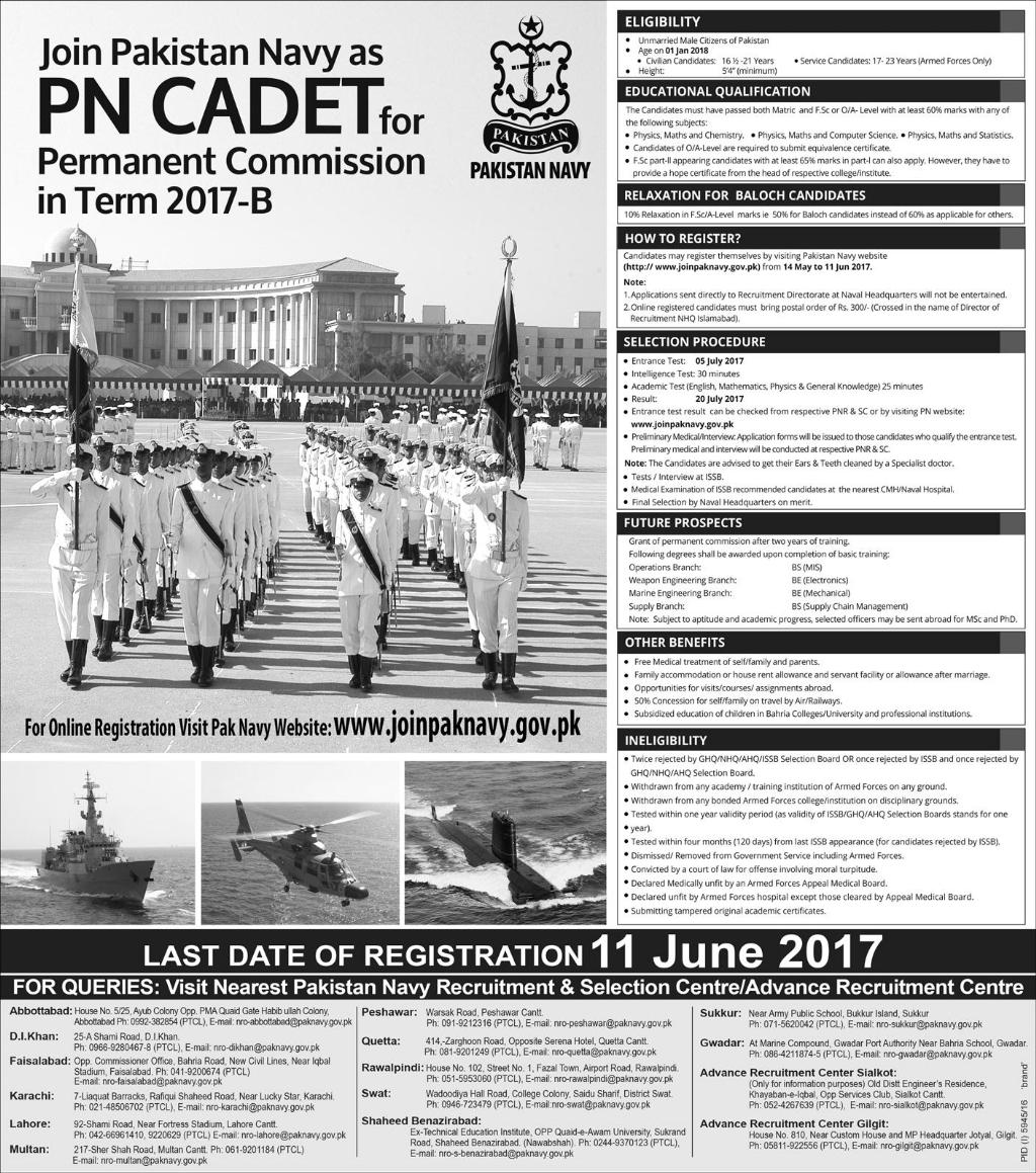 Join Pakistan Navy As PN Cadet For Permanent Commission 2017 Registration