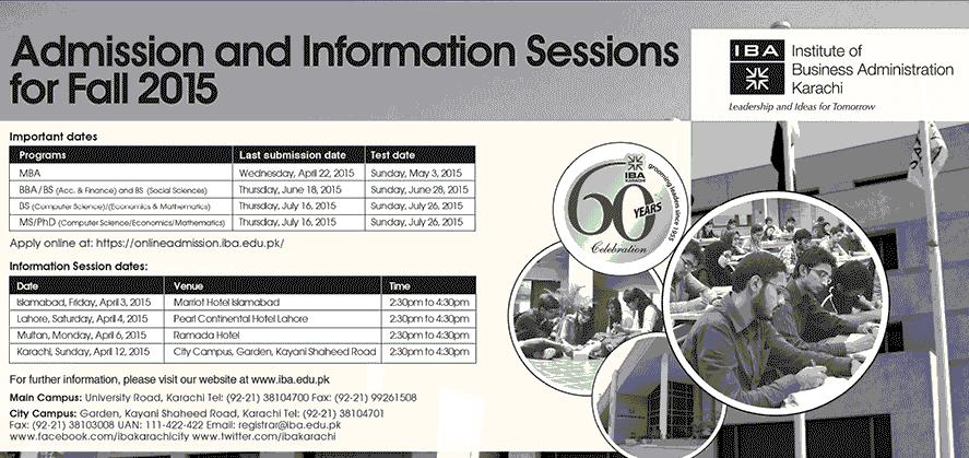 IBA Karachi Spring Admission 2015 BS, MS, PhD Form, Last Date