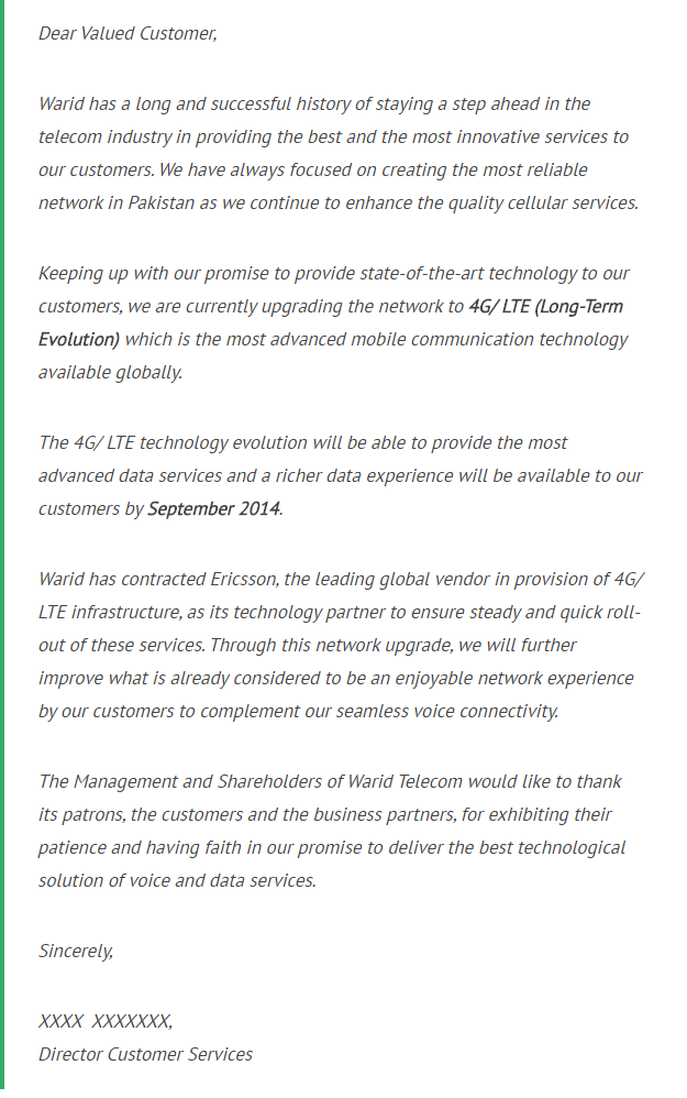 letter from warid to its valued customers