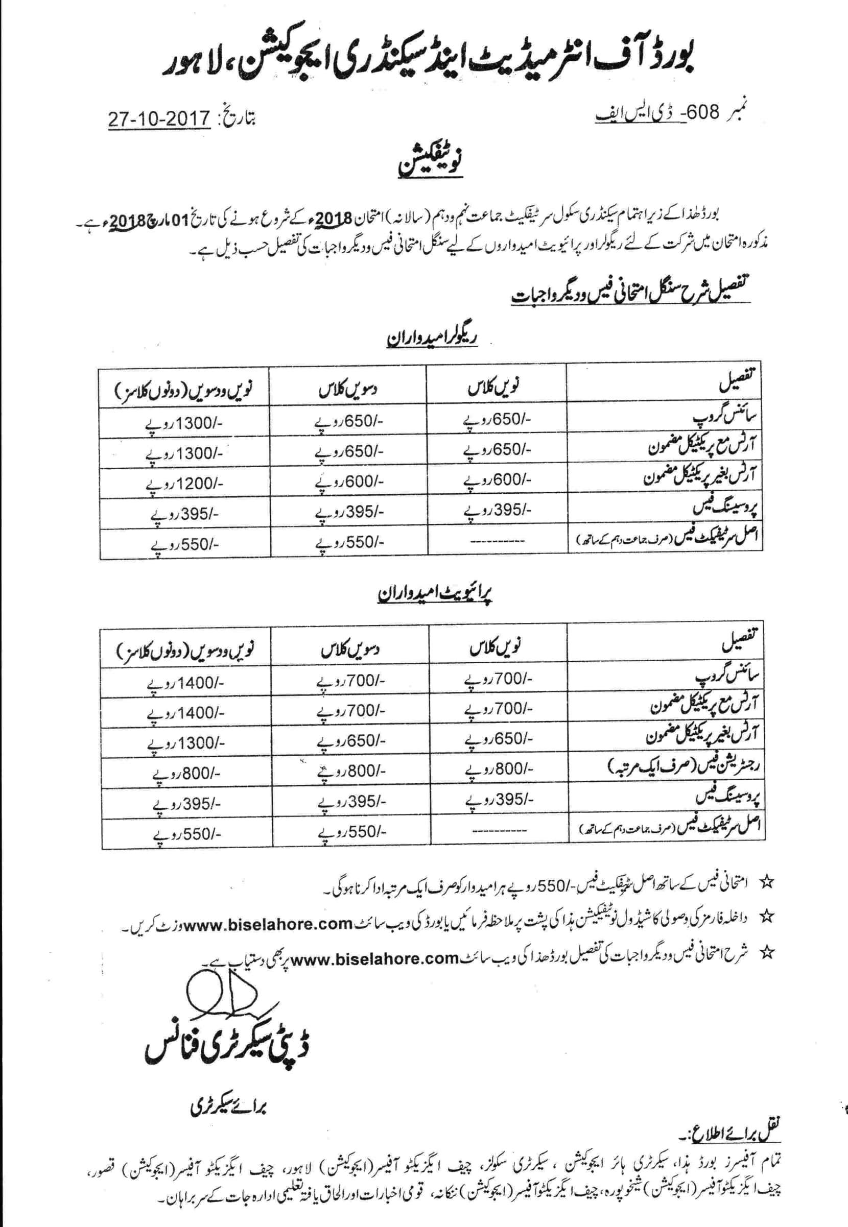 BISE Lahore Board Matric Online Admission 2018,SSC,9th,10th