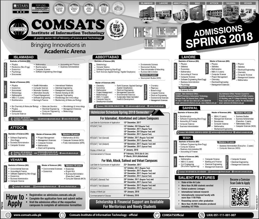 COMSATS Spring Admissions 2018 Islamabad, Lahore, Abbottabad