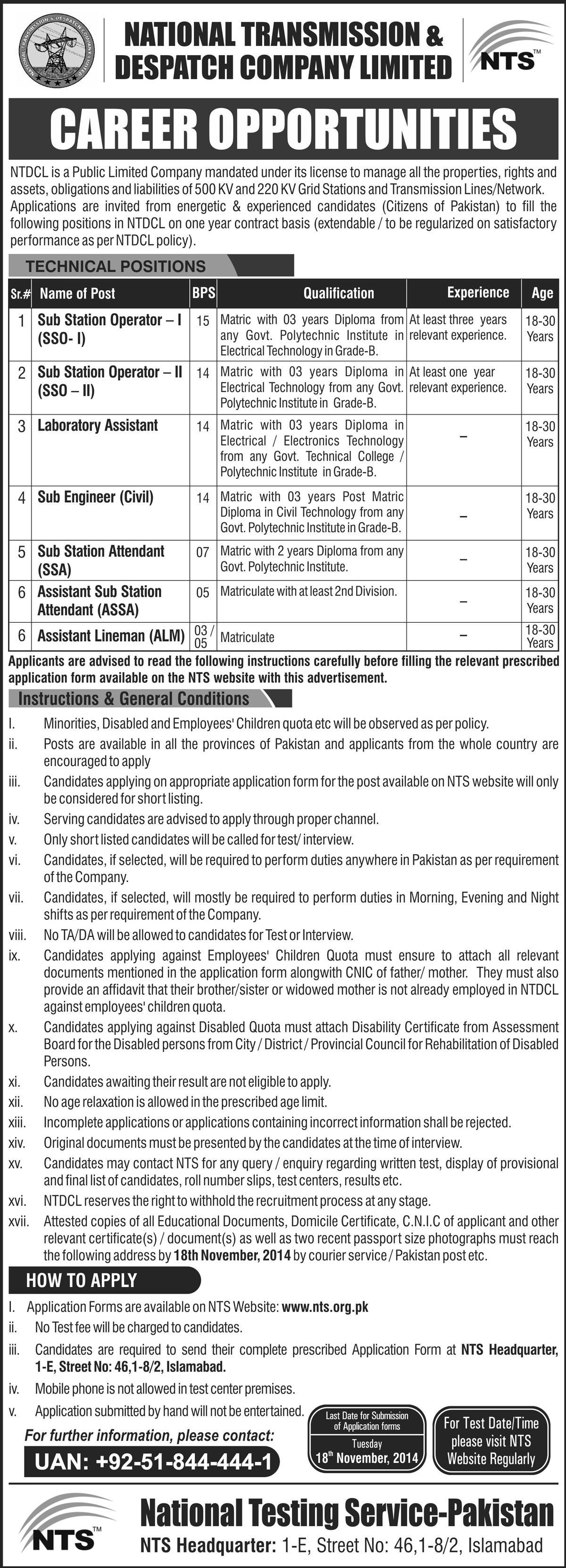 NTDC NTS Job 2014 Application Form Download - sekho com pk