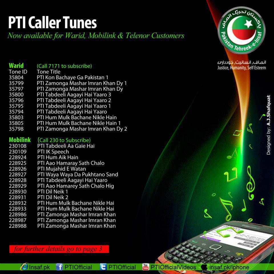 PTI Callers tunes for warid, Mobilink, Jazz, Ufone, Telenor