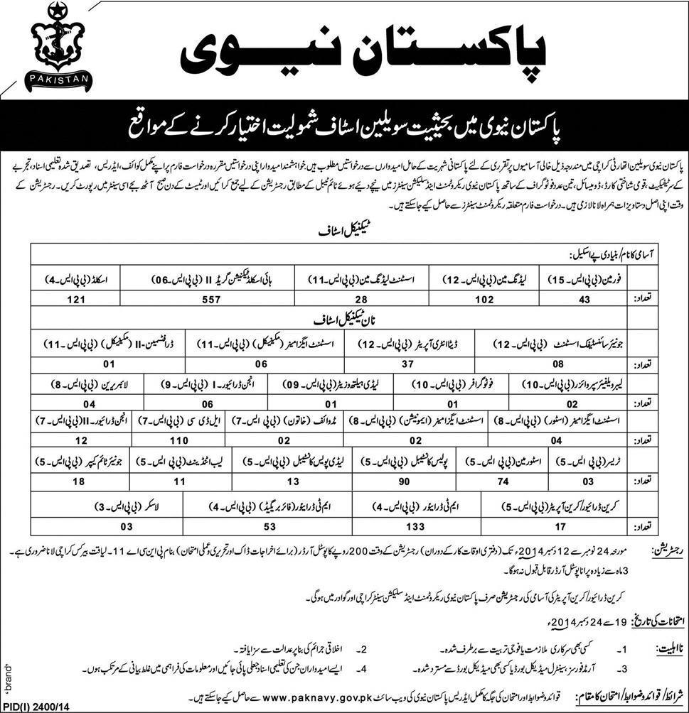 Pakistan Navy Jobs 2014 As Civilian Staff Registration, Test Dates
