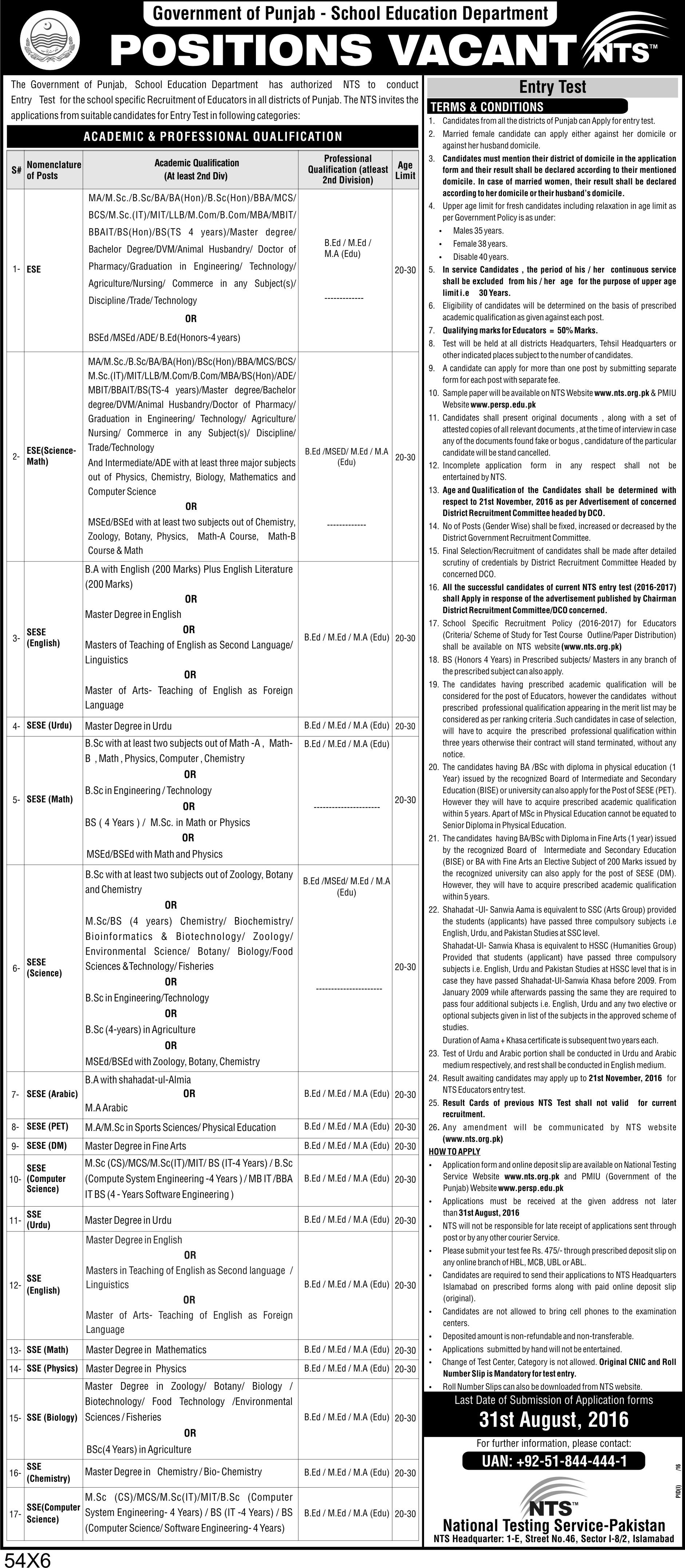 Punjab School Education Department Jobs 2016 NTS Educators Form, Last Date