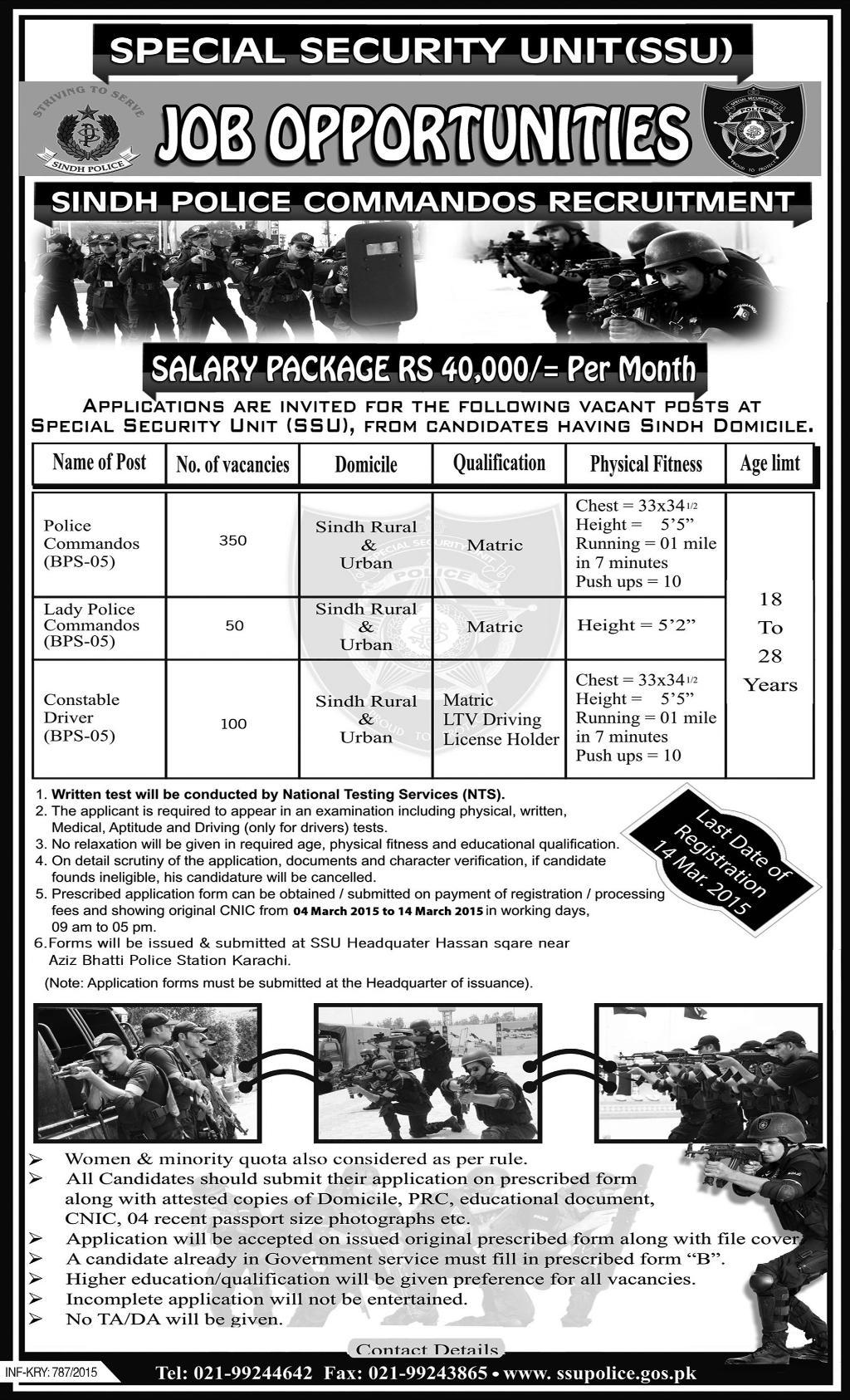 Sindh Police Commando SSU Jobs 2015 Male, Female