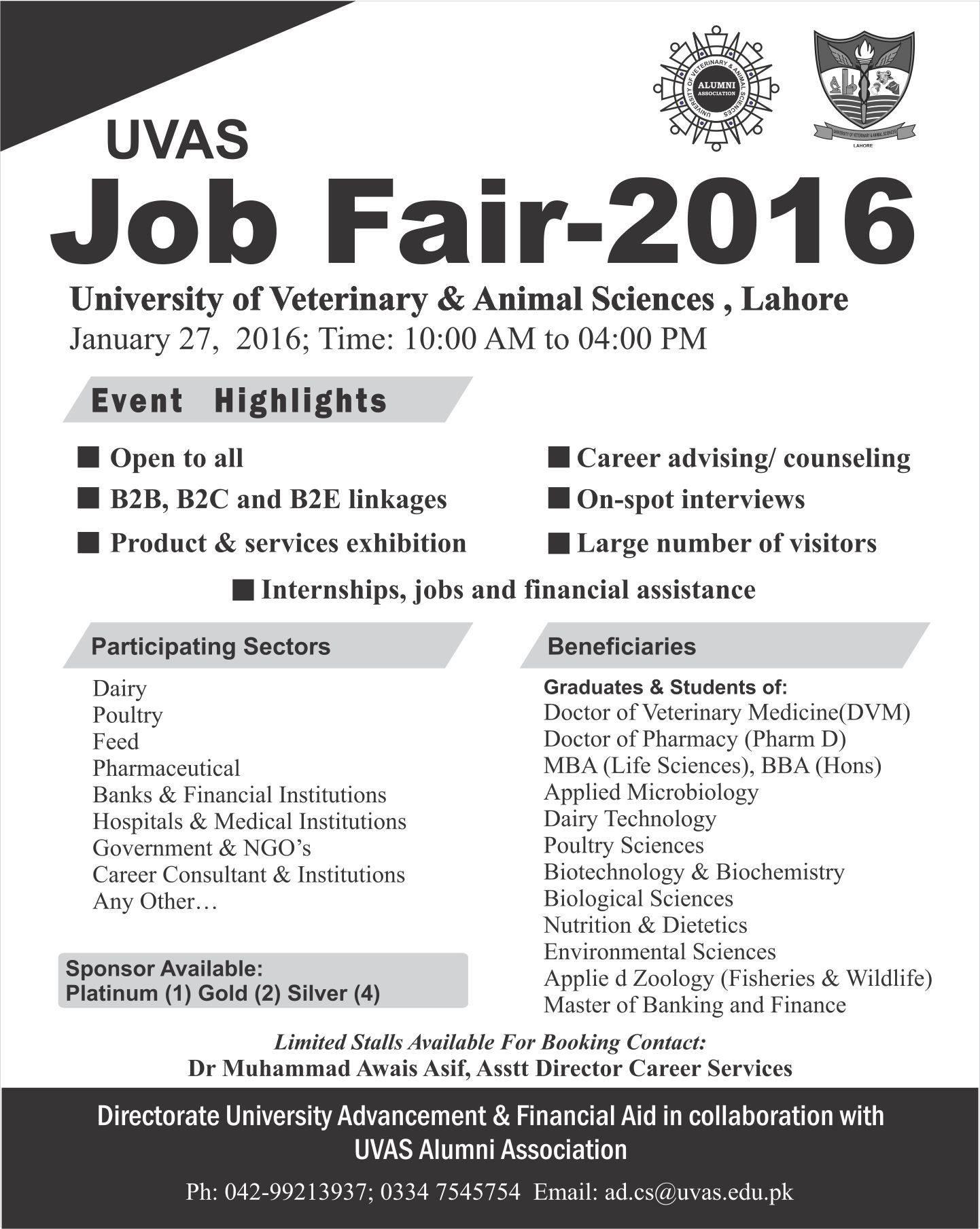 UVAS Lahore Job Fair 2016 Date, Time, Venue