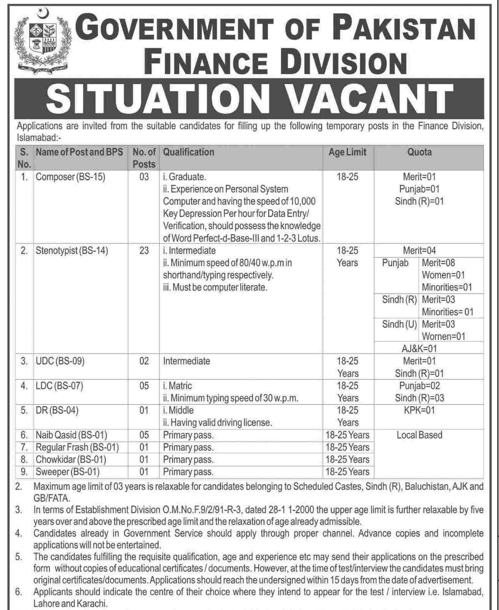 Govt Of Pakistan Finance Division Islamabad Jobs 2015 Application Form Last DateGovt Of Pakistan Finance Division Islamabad Jobs 2015 Application Form Last Date