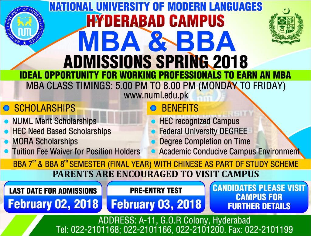 NUML University Islamabad Spring Admission 2018 Undergraduate, Graduate Form