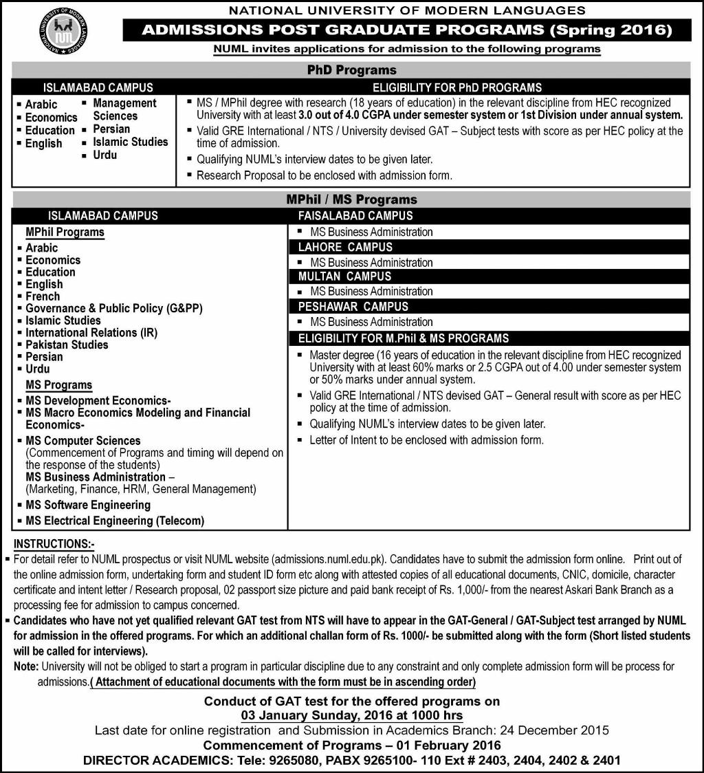 NUML University MS, MPhil, PhD Admissions 2018 Spring Postgraduate Form