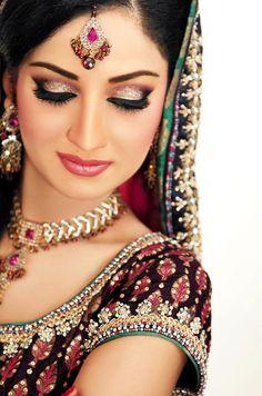 Pakistani Bridal Walima lips and eyebrow makeup images