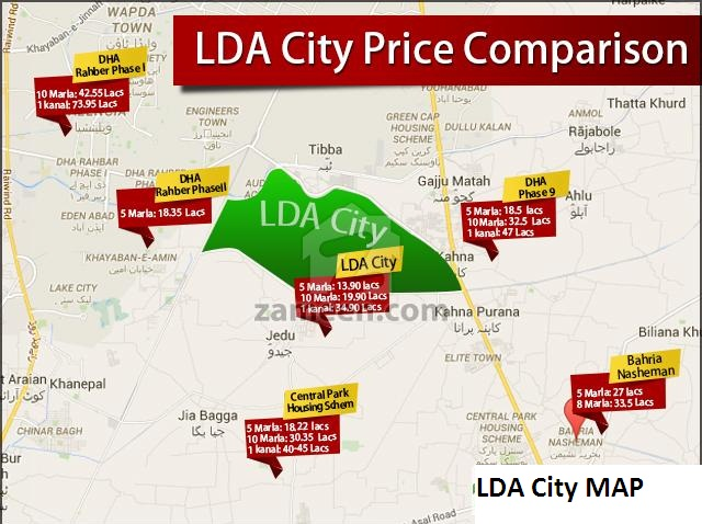 LDA City Housing Scheme Lahore 2016 Location Map Prices