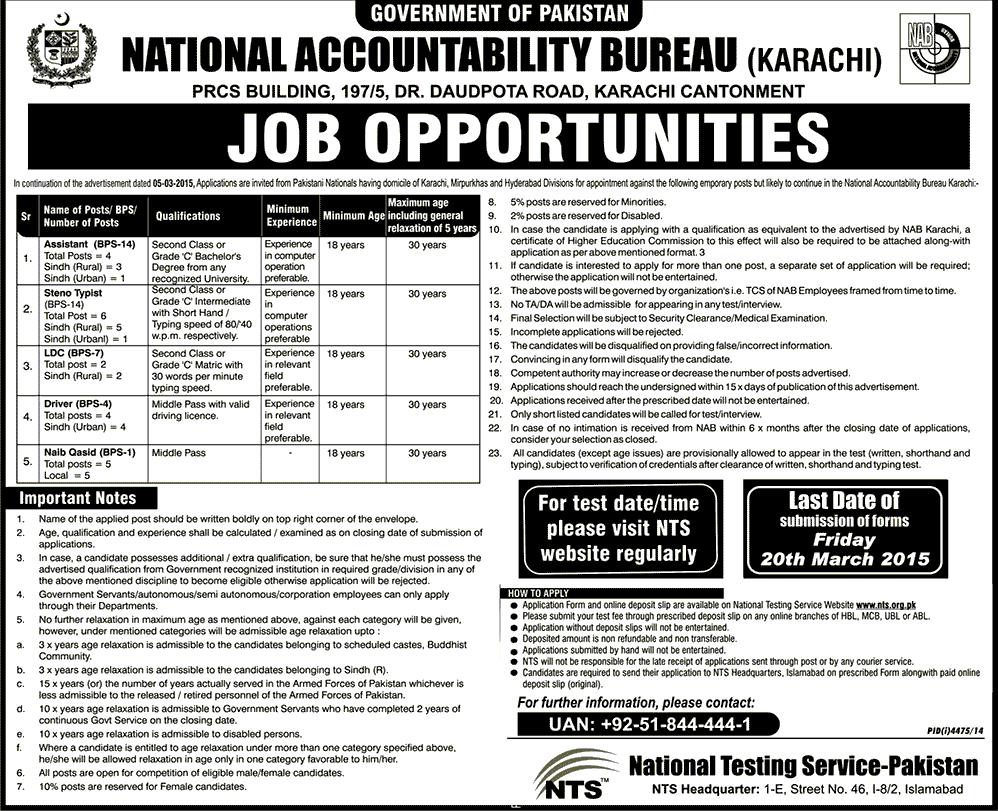 NAB Karachi Jobs 2015 NTS Form Download Eligibility Last Date