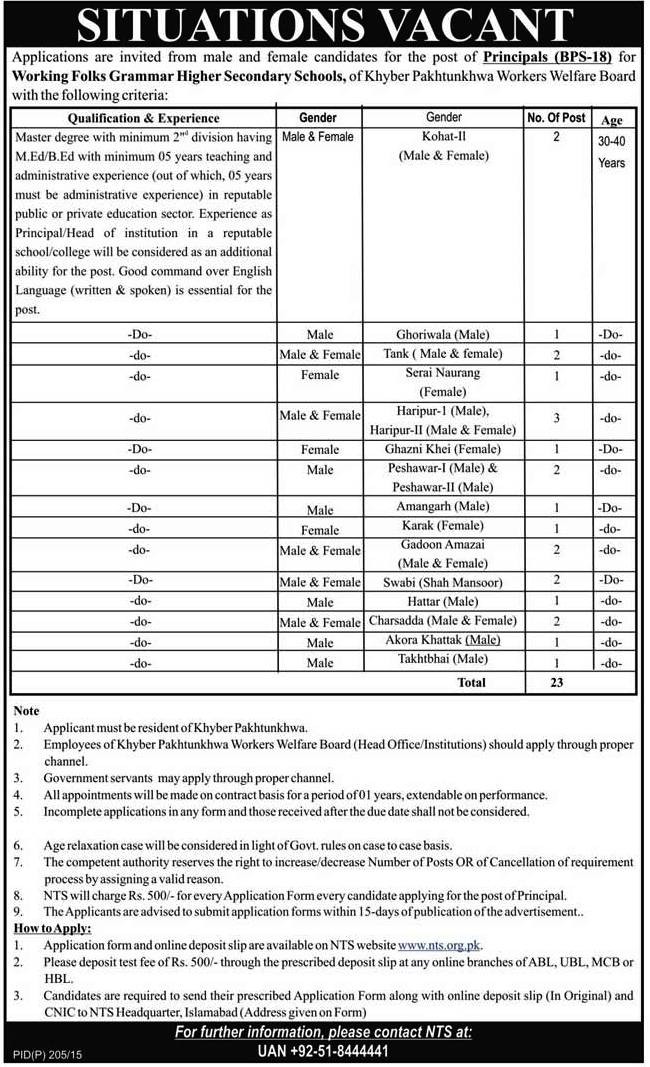 KPK Workers Welfare Board Peshawar Jobs 2015 Online NTS Form
