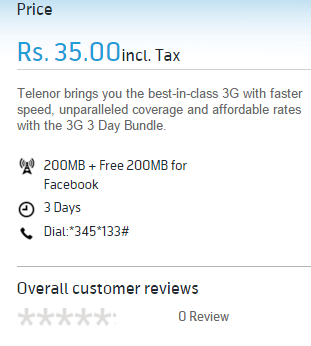 Telenor 4G 3 Days Internet Offer 2017 Price RS 35
