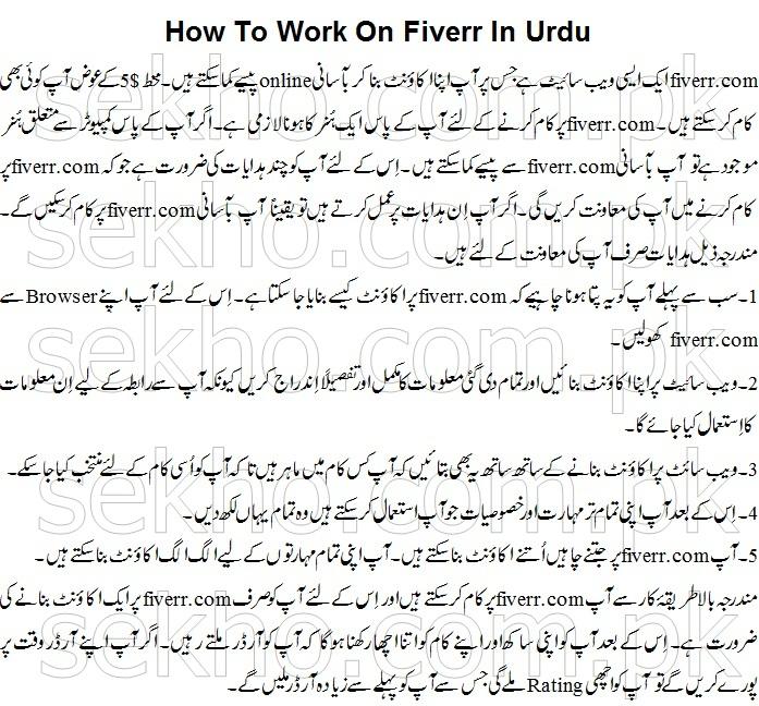 How To Work On Fiverr In Urdu
