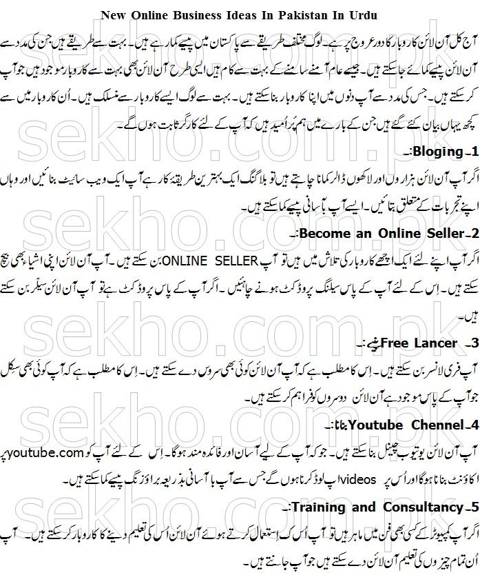New Online Business Ideas In Pakistan In Urdu