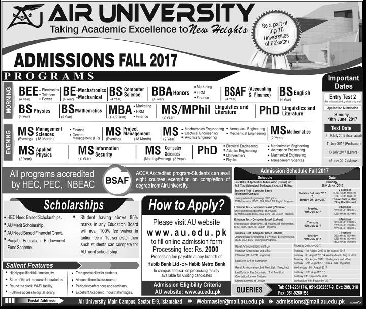 Air University Admission 2017 Online Form, Test Date Result