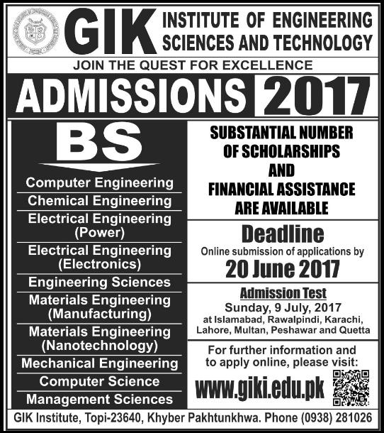 GIKI Undergraduate Admission 2017 Form Apply Online