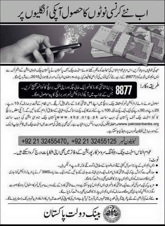 State Bank Of Pakistan SBP New Currency Notes For Eid Branches List