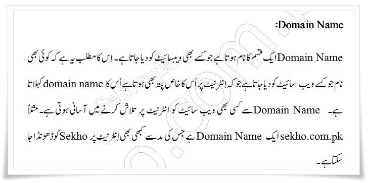 What Is Domain Name In Urdu