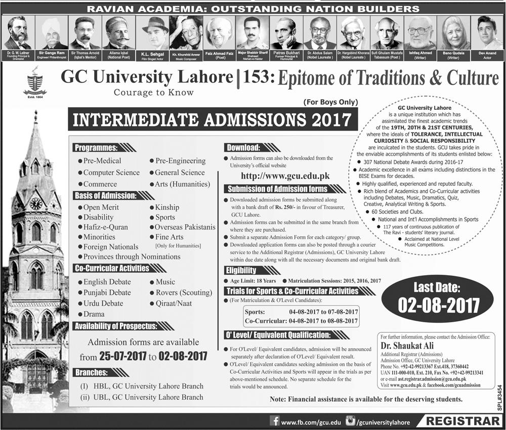 Gc University Lahore Intermediate Admission 2017 Form, Last Date