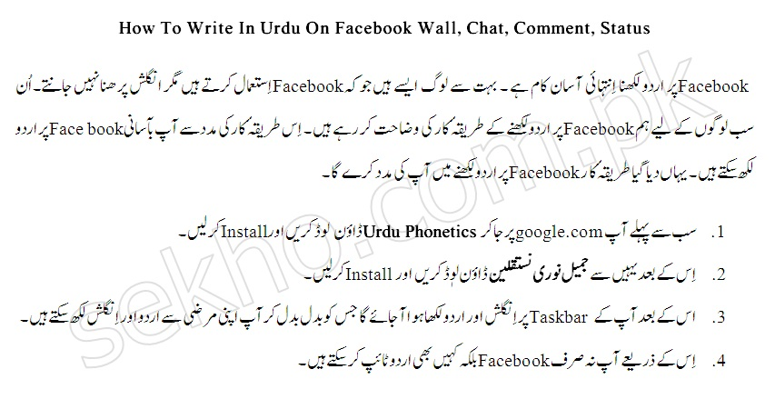 How To Write In Urdu On Facebook Wall, Chat, Comment, Status is the latest tutorial which is added to this page. Most of the people use Facebook in Pakistan and don't know English very well. They cannot understand and talk too much in English and also don't have commands and control on the language and cannot work with the English alphabets. They want to write and read in Urdu. There are many methods to read and write Urdu on Facebook that includes the changing to language and switch to Urdu from the options given below in the Facebook. This is one of the methods that you can use to type Urdu on Facebook. How To Write In Urdu On Facebook Wall, Chat, Comment, Status has many method. There is another very easy and simple method in which you can download and install the software to write or type Urdu on Facebook in chat, status comment and on the wall of Facebook. For that purpose, you have to download the Urdu Phonetics. The complete process is discussed below. How To Write In Urdu On Facebook Wall, Chat, Comment, Status This is the complete process to How To Write In Urdu On Facebook Wall, Chat, Comment, Status. There are many processes to do so from which one is defined here for the convenience of the users. This tutorial will help you and tell you that how you can write Urdu in the chat, comments, status and wall of the Facebook. Go to the google.com and type Urdu Phonetic to download. After download, install the Phonetic to the computer. It will appear the taskbar for English and urdu language. You can type any of the both languages at any time at anywhere. This is the process by which you can Write In Urdu On Facebook Wall, Chat, Comment, Status. This is one of the many processes that will help you to write Urdu on Facebook.