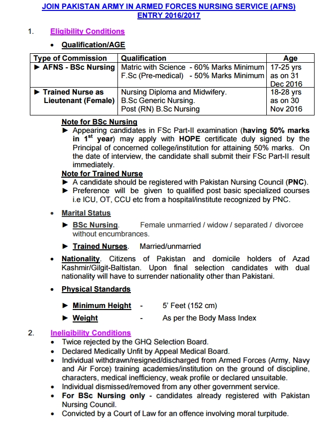 Join Pakistan Army After Matric As a AFNS-BSc Nursing