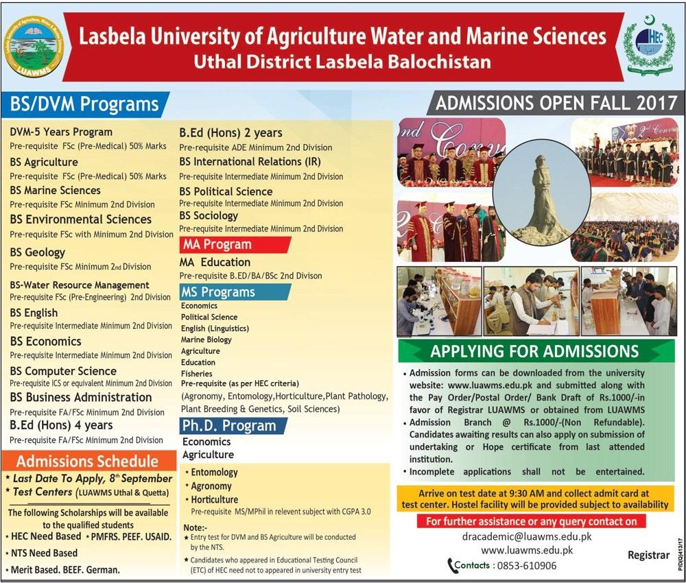 Lasbela University Of Agriculture Admission 2017 Form, Last Date