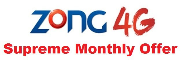 Zong Supreme Monthly Offer Unlimited Call Details, SMS Details