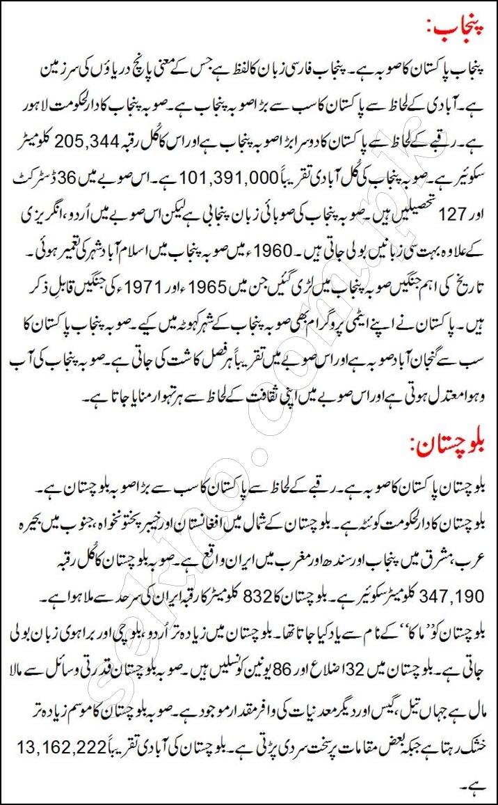 Information About Provinces Of Pakistan In Urdu