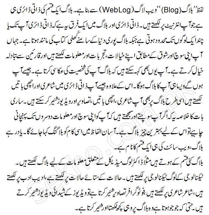 what is blogging in urdu