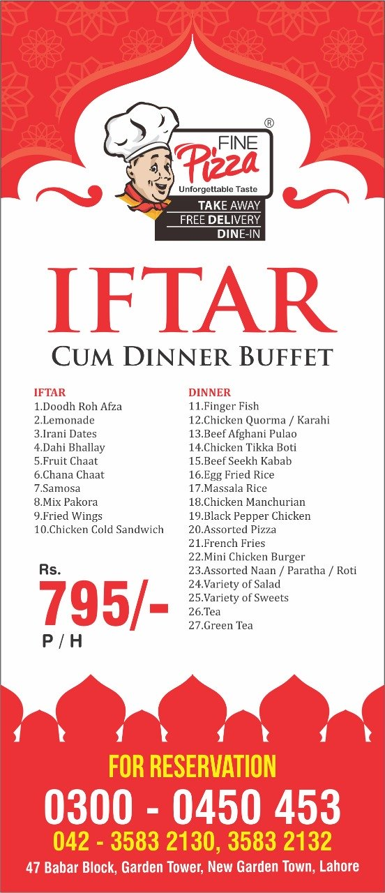 Best Ramadan Iftar Buffet Deals In Lahore Rates, Menu, Fine Pizza