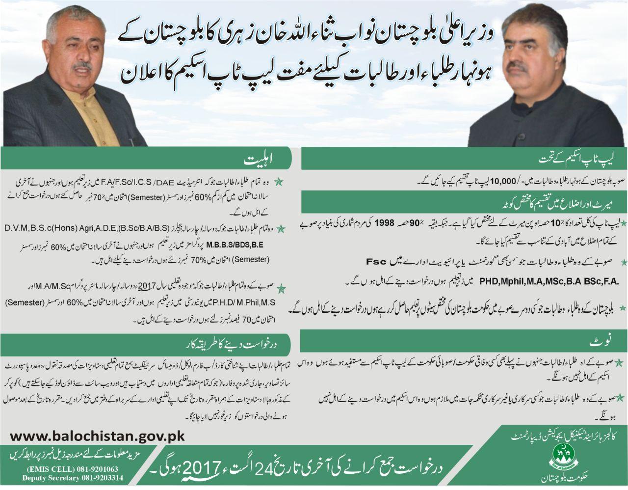 CM Balochistan Laptop Scheme 2017 Registration Form