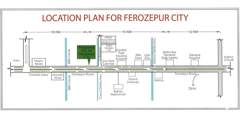 Ferozpur City Housing Scheme Lahore Location Plan
