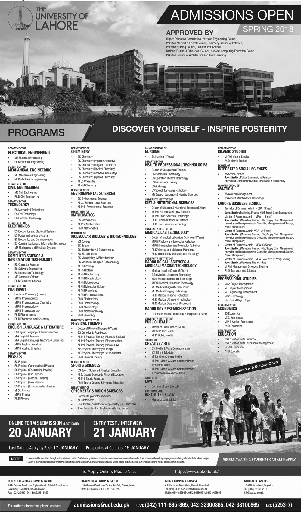 The university of lahore uol admissions 2018 yelopaper Choice Image
