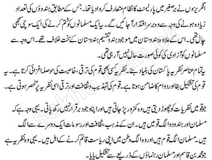 Nazria Pakistan Essay In Urdu PDF