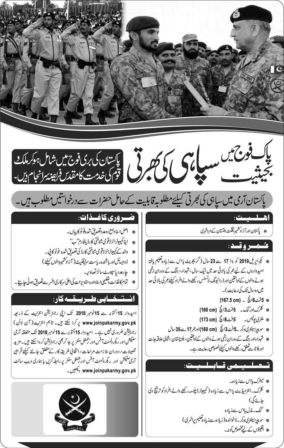 Join Pak Army as Soldier 2019 Registration Last Date