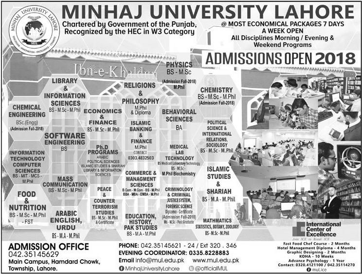 Minhaj University Lahore Admission 2018 Form, Last Date