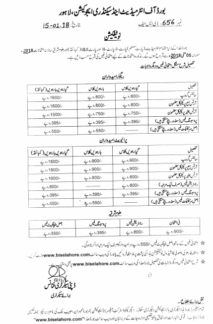 BISE Lahore Admission Form Intermediate 2018 Fee, Date Schedule