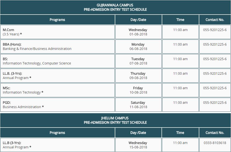 punjab university lahore admission schedule 2018