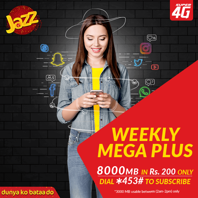 Jazz Weekly Mega Plus Internet Offer 2018 Subscription Code, Charges