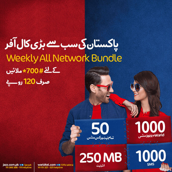 Mobilink Jazz Weekly All Network Offer Internet, Call, SMS Details Activation Code Charges