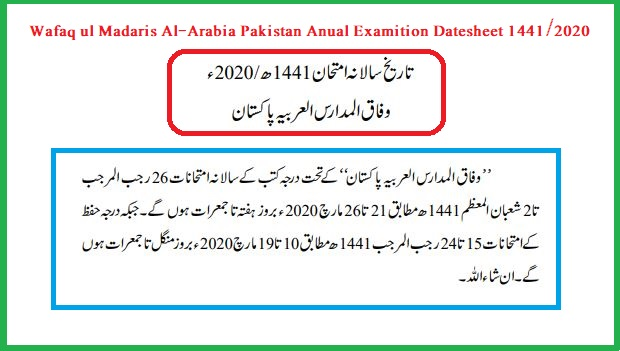 Wafaq ul Madaris Date Sheet 2020