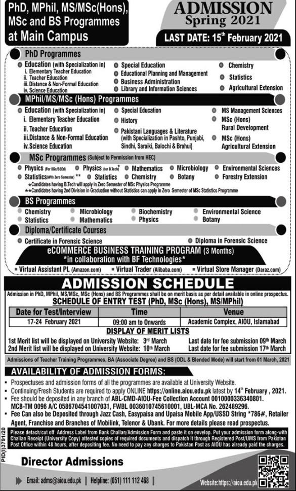 Allama Iqbal Open University AIOU Spring Admission 2021
