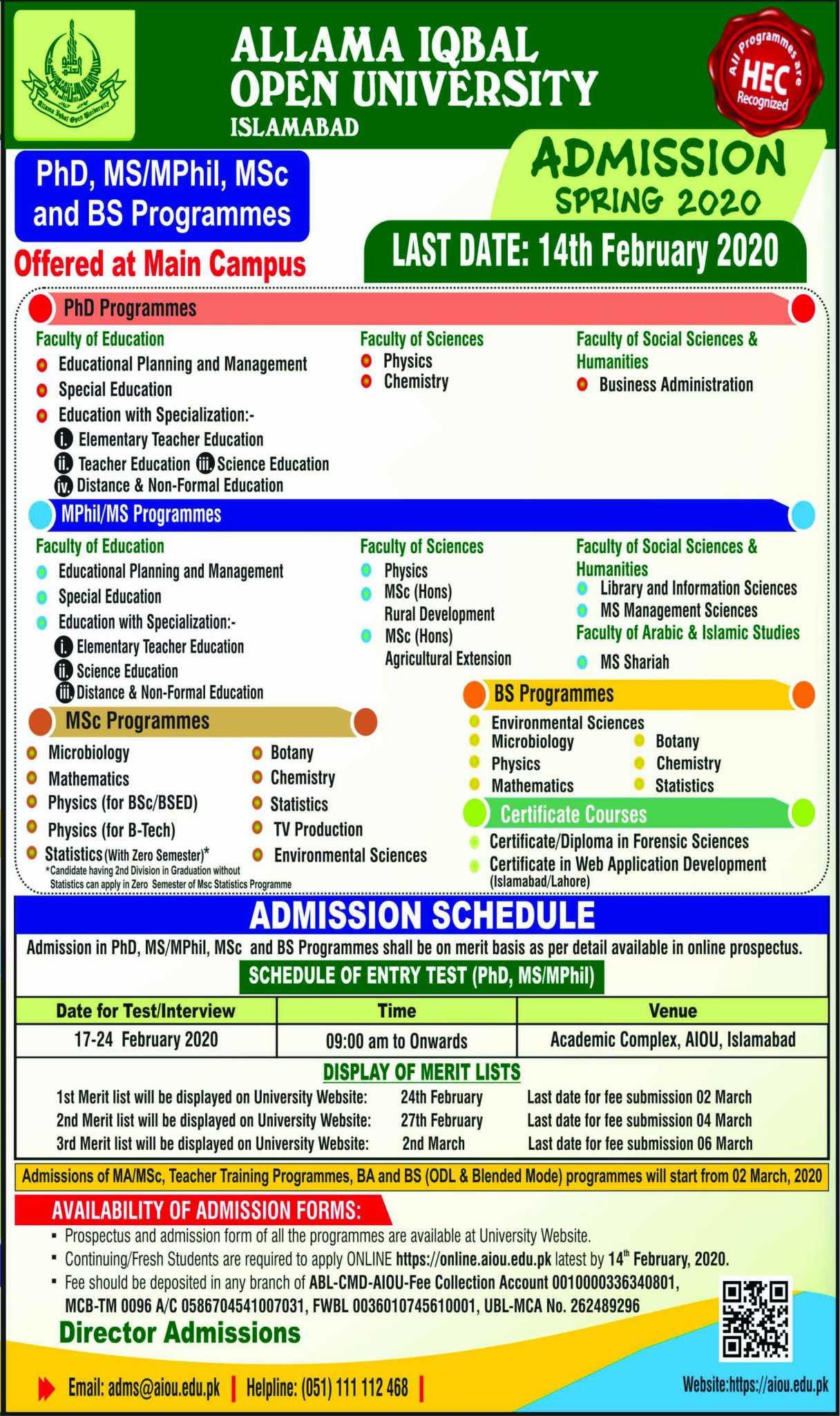 Allama Iqbal Open University AIOU Spring Admission 2020